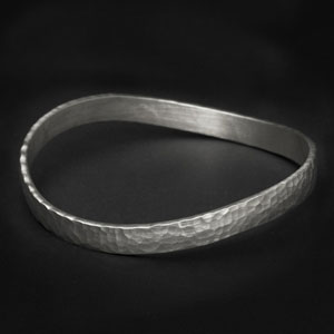 Single Beaten Sterling Bracelet