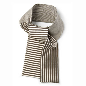 Khaki Cotton Striped Scarf