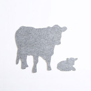 Med. Pale Grey Cow & Calf