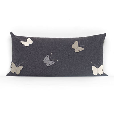 Grey Rectangular Butterfly Cushion