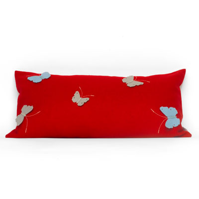 Red Rectangular Butterfly Cushion
