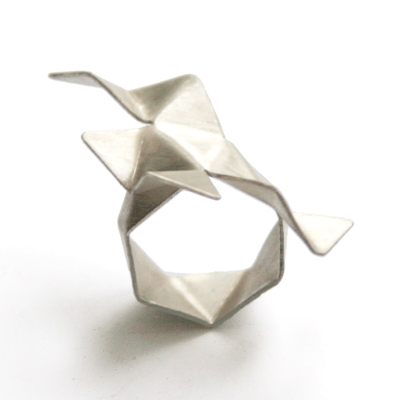 Silver Origami Ring