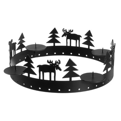 Moose Round Table Candle Holder