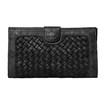 Black Woven Leather Wallet